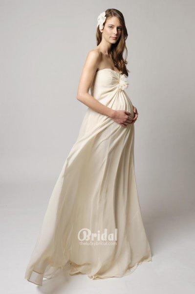 princess-strapless-chiffon-maternity-wedding-dress-1